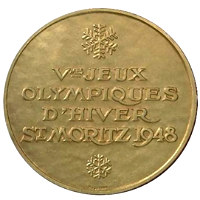 Winter Olympics 1948 Medal Front Side